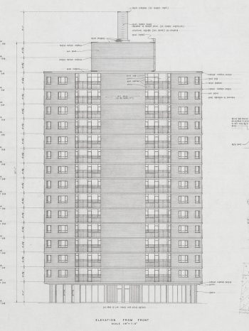 Sketch of Woodland Acres, Scarborough, fifty-fifty building, 1962