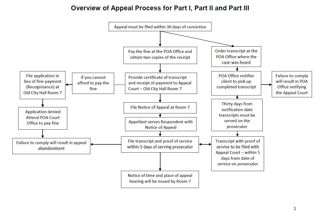 This graphic shows the appeals process for provincial offences. Once an appeal is filed within 30 days of a Part I, Part II or Part III conviction.