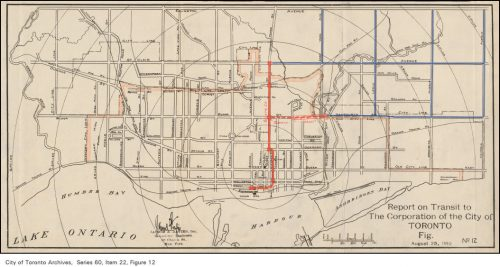 Plan of proposed subway system for Toronto