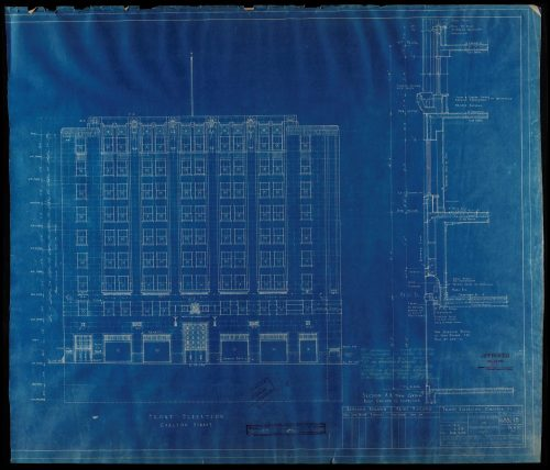 Blueprint of tall square building.