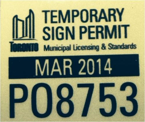 Temporary Sign Permit Sticker