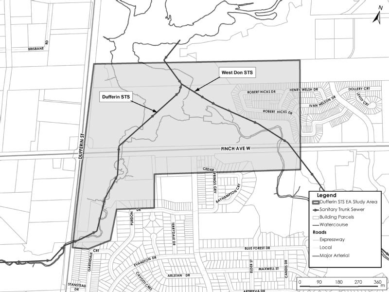 Dufferin Sanitary Trunk Sewer Environmental Assessment Study Area Map