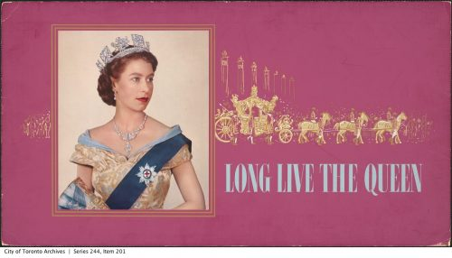 TTC advertising card commemorating the Queen's coronation