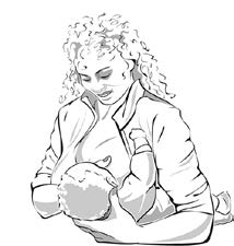 woman breastfeeding baby in football position