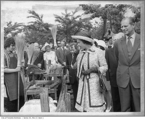 Queen Elizabeth II at the Black Creek Pioneer Village display at High Park June 28, 1973