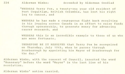 A picture of the Scarborough Council Minutes, June 23,1980, page 169