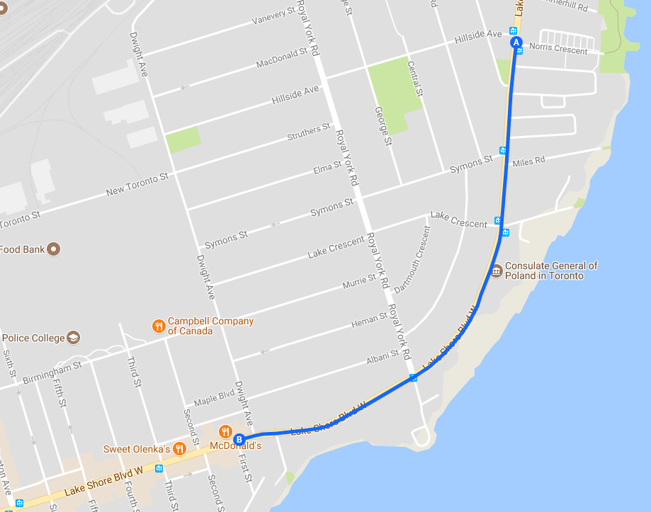 Map of Study Area a 1.4 km cycle track along Lake Shore Boulevard West from Norris Crescent to First Street, west of Mimico Waterfront Park in Etobicoke, Ward 6