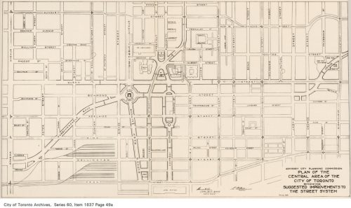 Plan of suggested improvements to Toronto's street system, 1929
