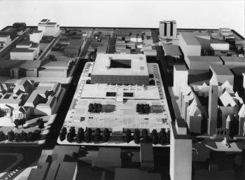 Model of square building with courtyard hole in centre