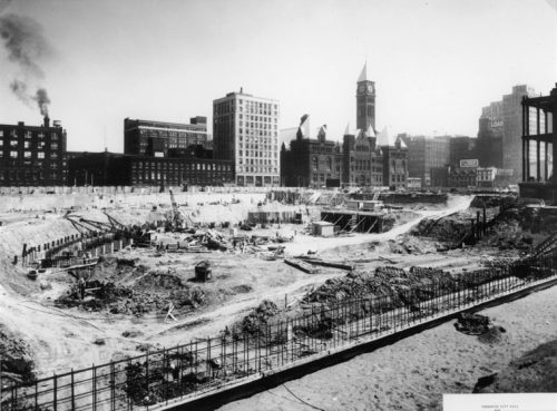 Excavation of City Hall basement on vacant lot