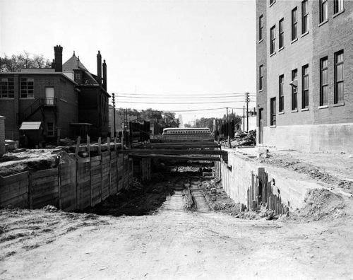 Excavation for streetcar tracks