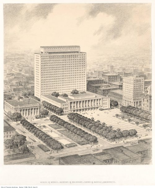 Sketch for proposed City Hall and civic square