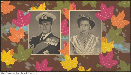 TTC card commemorating the visit of Princess Elizabeth and Prince Philip