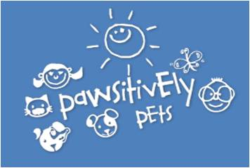 logo for pawsitively pets with illustrated sun and dogs