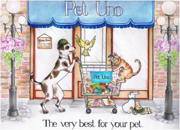 logo for pet uno with illustrated pet with shopping cart that says the very best for your pet