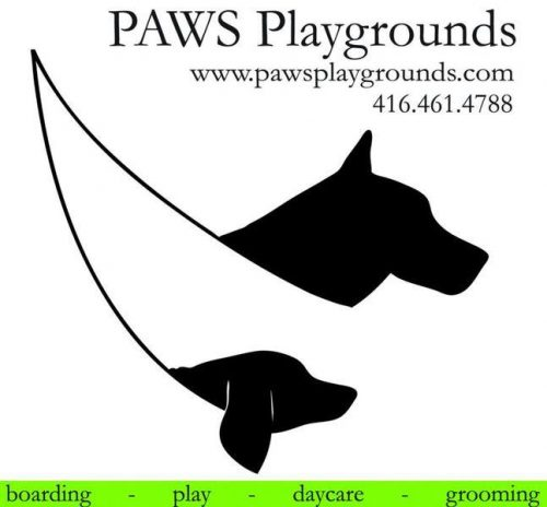 logo for Paws Playgrounds with url and phone number