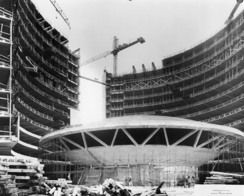 Looking up at round Council Chamber and surrounding towers under construction