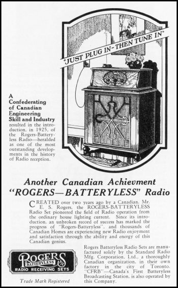 """Ad showing cabinet-style radio that you """"just plug in then tune in."""""""