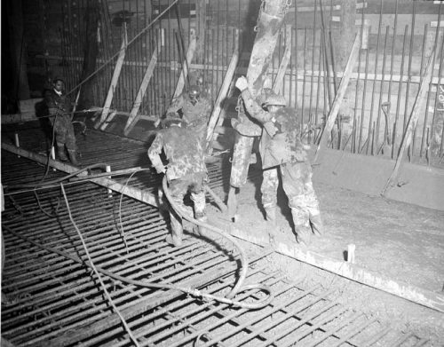 Pouring concrete under ground