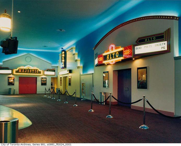 Multiplex, Oakville Town Centre, interior, lobby, 1989