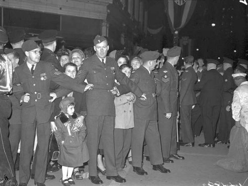 RCAF members keep crowds back