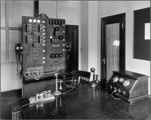 Radio recording equipment within room at King Edward Hotel, Toronto