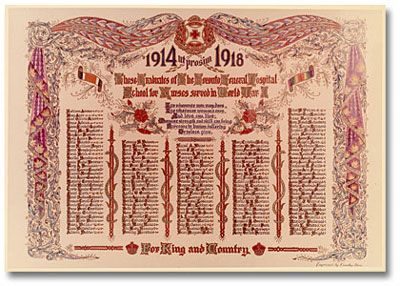 Honour roll of graduates who served in the First World War 1952
