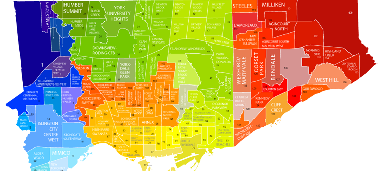 Colourful map of Toronto neighbourhoods