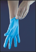 Putting on blue latex glove