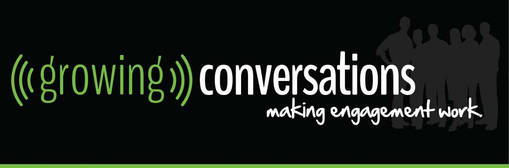 Growing Conversations logo with silhouette of a group of people behind it