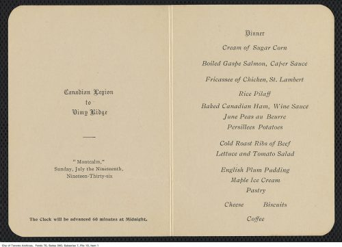 Menu from the SS Montcalm