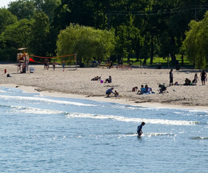 People playing in the water at one of the Island's beaches