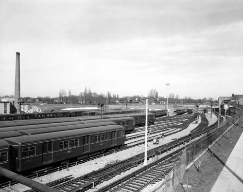 Subway cars in Davisville yard