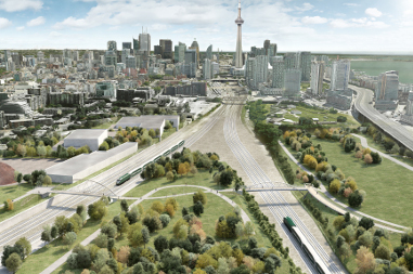 Overhead conceptual rendering of Garrison Crossing facing east with the CN Tower in the background