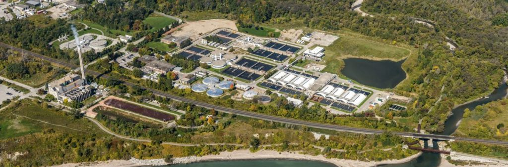 Aerial image of Highland Creek Wastewater Treatment Plant