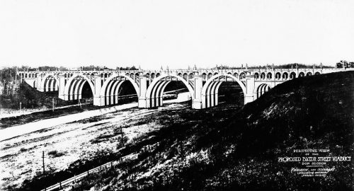 Drawing showing viaduct with many concrete arches.