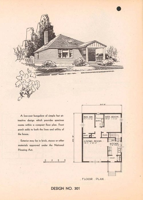 Sketch and floor plan of small two-bedroom house with small front porch