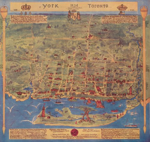 Hand-drawn rendering of Toronto in 1834
