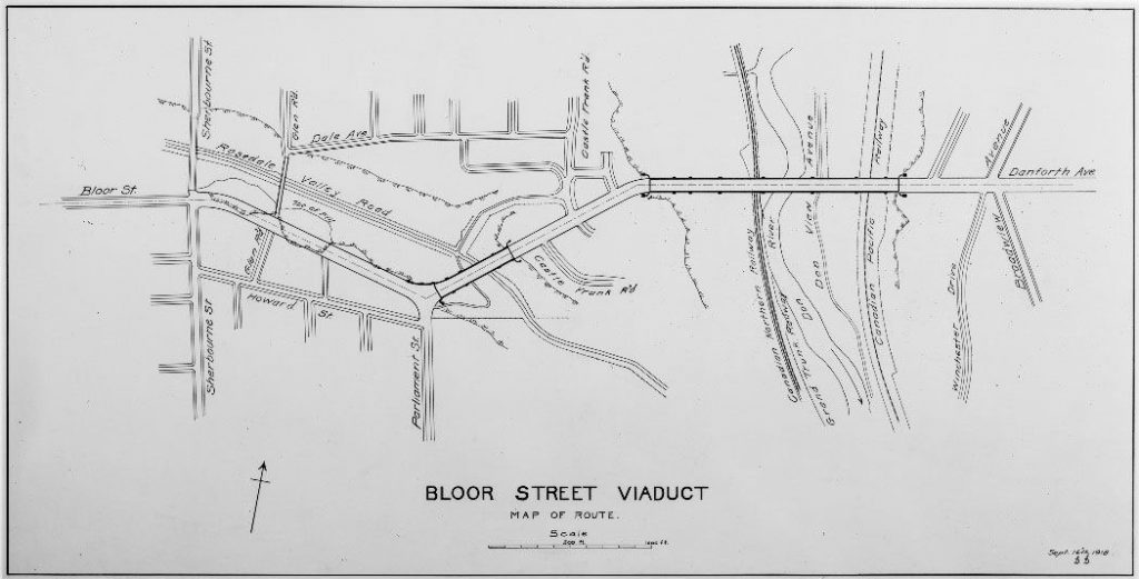 Map showing path of viaduct.