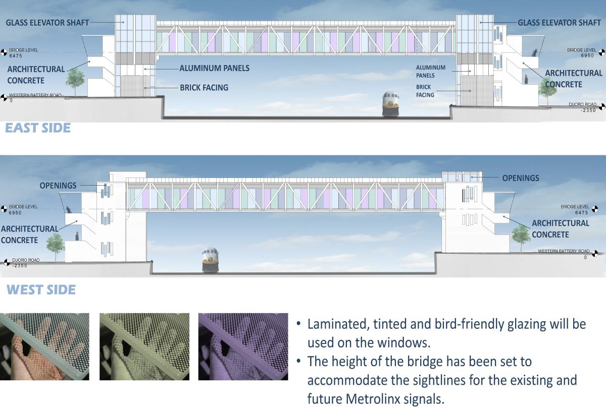 Design elements include: concrete architectural walls on stairs, glass bridge walls, canopy roof, open air openings, and a continuous bike channel at the four flights of stairs. Laminated, tinted and bird-friendly glazing will be used on the windows. The height of the bridge has been set to accommodate the sight lines for the existing and future Metrolinx signals.