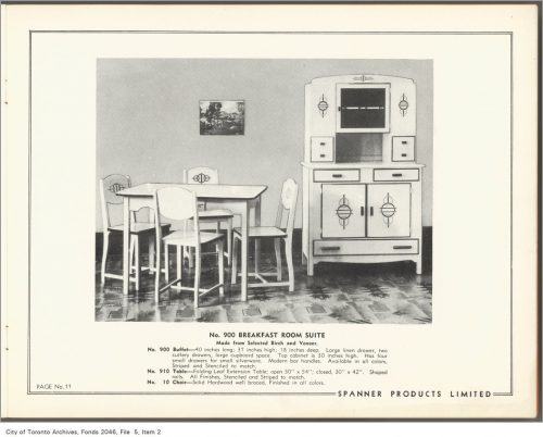 Catalogue page showing white-painted chairs, table and sideboard.