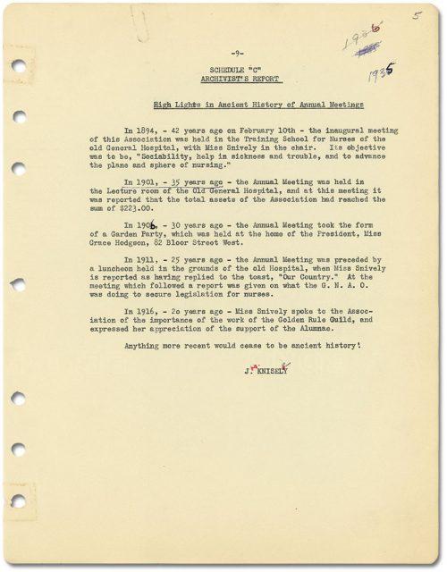 "Schedule ""C"" Archivist's Report 1935"