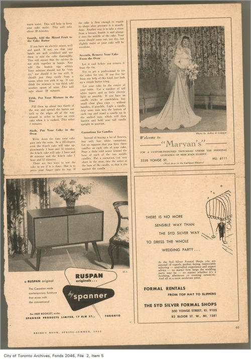 Ad showing sideboard with vase of flowers in living room.