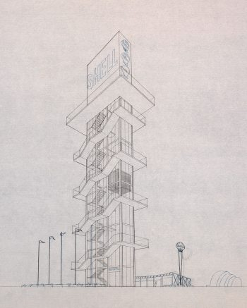 Sketch of Shell Tower, Exhibition Place, 1950's, Architect George A. Robb