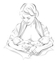 woman holding 2 babies in cradle position