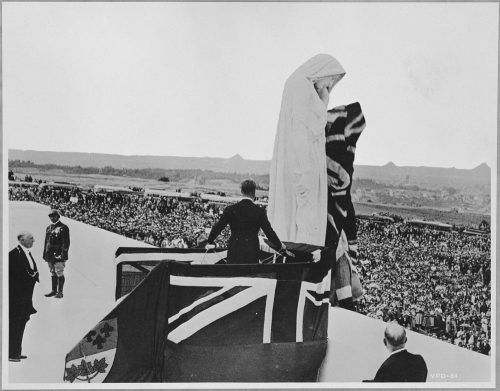 King Edward VIII unveiling the figure of Canada on the Vimy Ridge Memorial