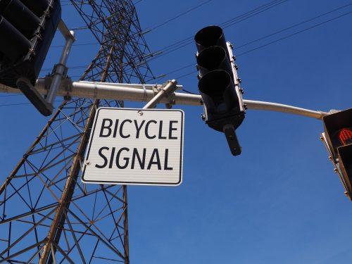 Bicycle signal sign up close