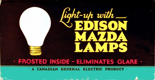 Advertisement showing a frosted lightbulb.