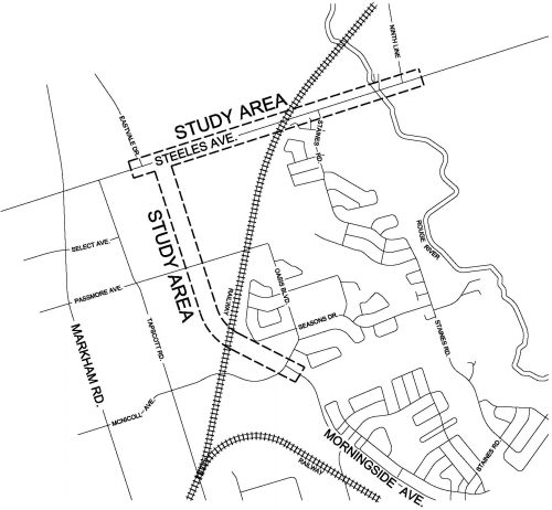 map showing extension of Morningside Avenue and location of widening Steeles Avenue