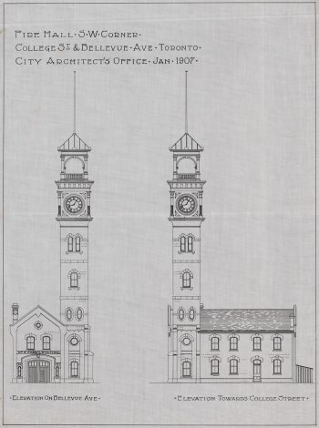 Blueprint of Fire Hall No. 8, College St. and Bellevue Ave., 1907